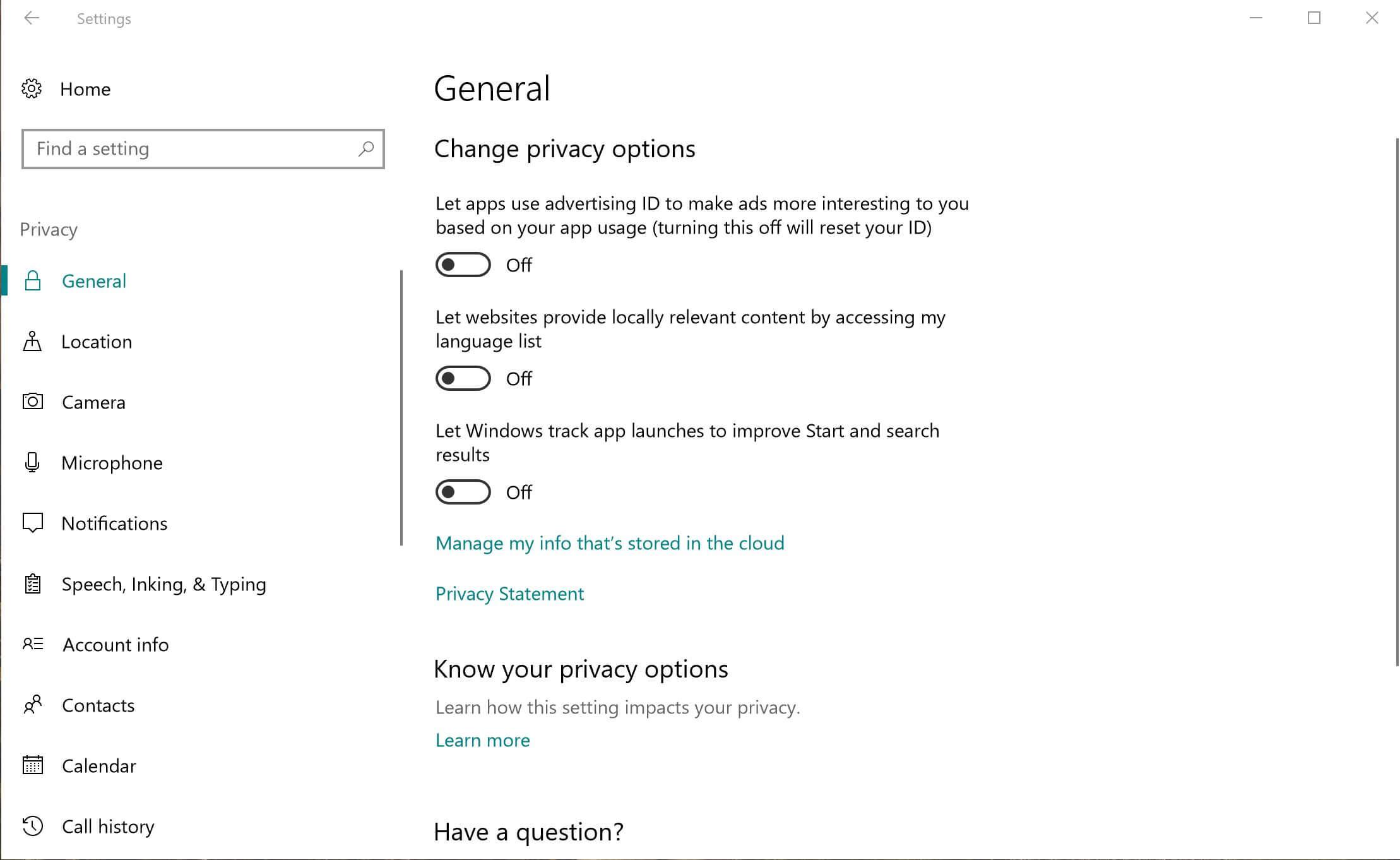A configuração geral em Privacidade