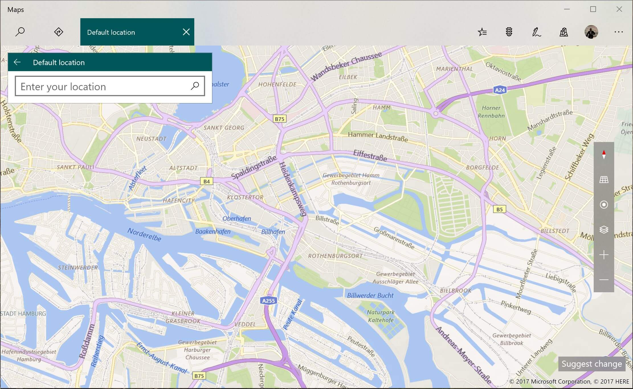 The location settings in Windows 10