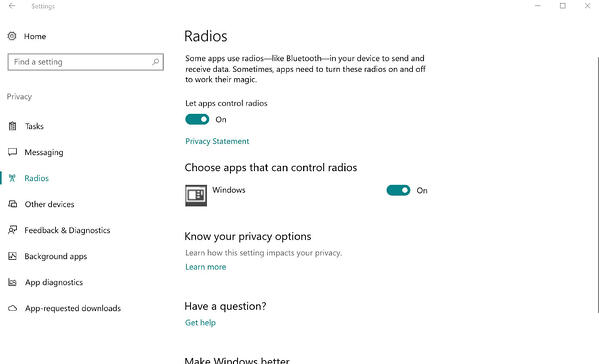 The radio settings in Windows 10