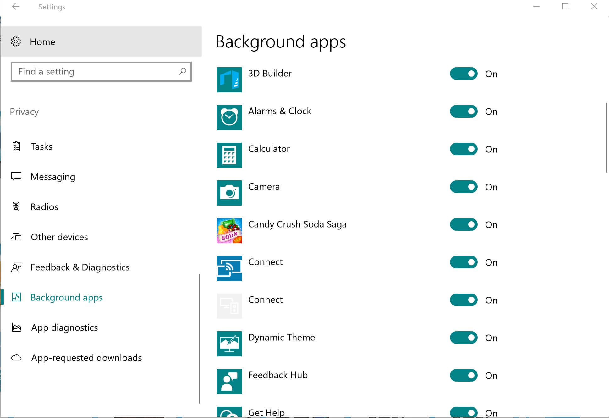 The background apps settings in Windows 10