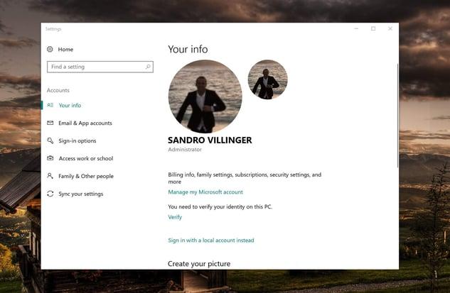 Configuración de la cuenta de Microsoft de Sandro Villinger