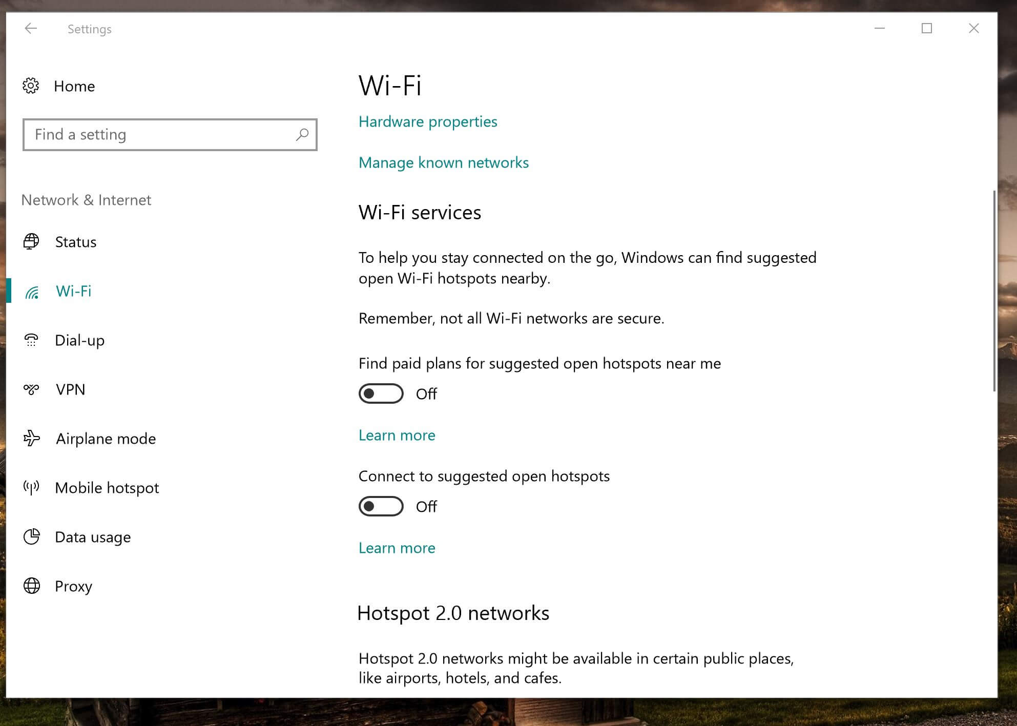The Wi-Fi settings in Windows 10