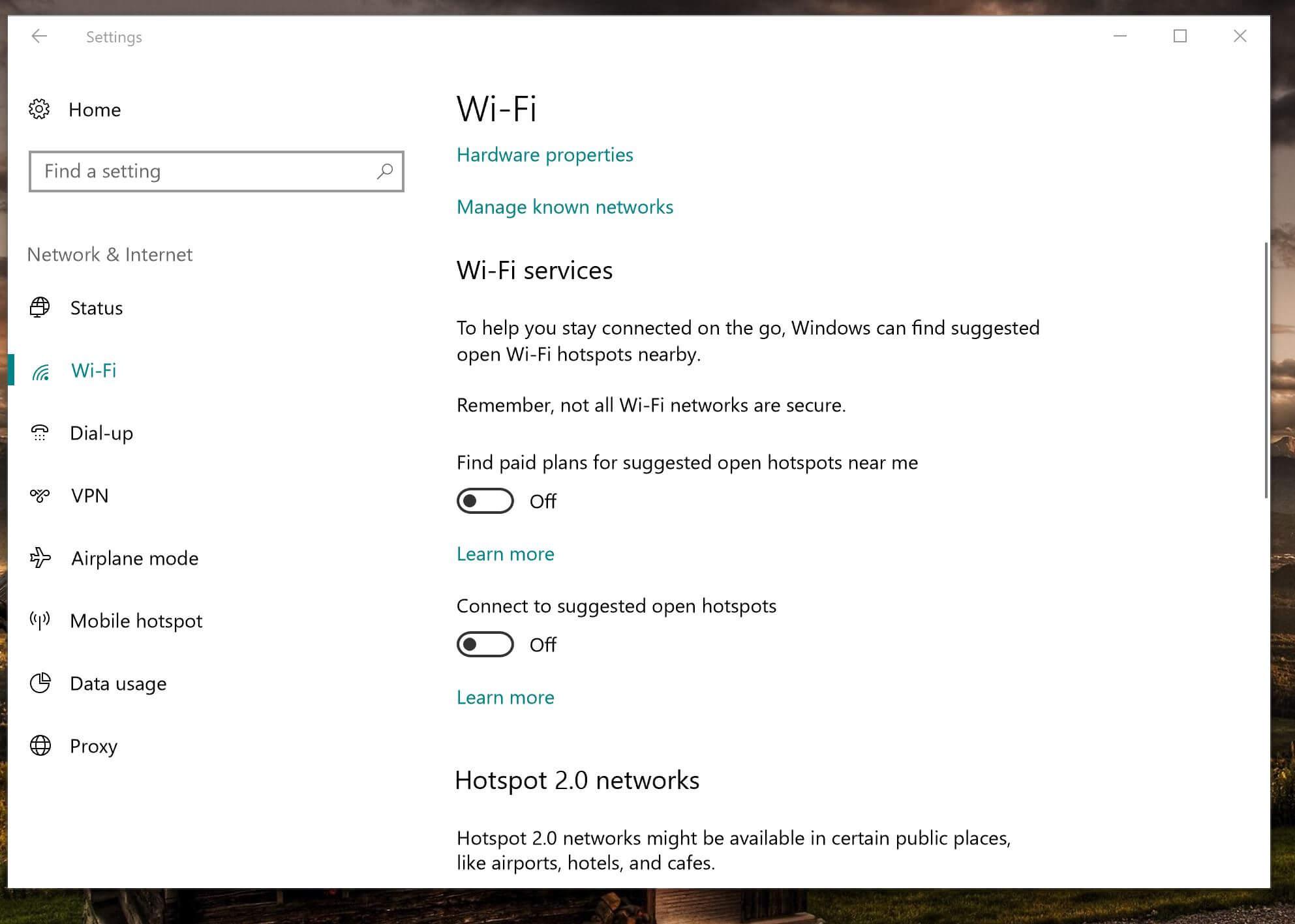 As configurações de Wi-Fi no Windows 10