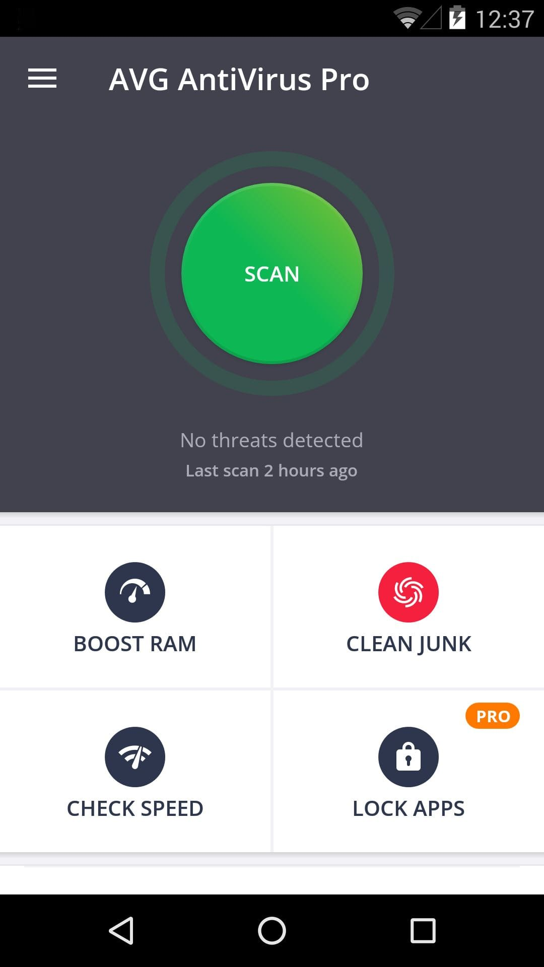 Main interface of AVG AntiVirus for Android