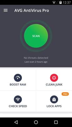 Main interface of AVG AntiVirus for Android
