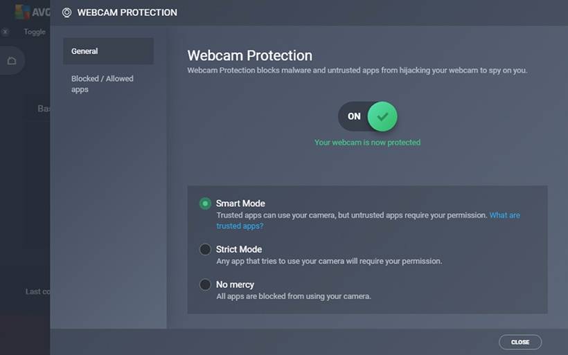 Screenshot of Webcam Protection settings within AVG Internet Security