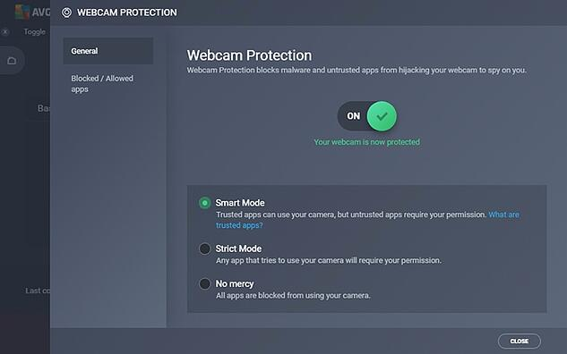 Captura de pantalla de la configuración de Protección de webcam en AVG Internet Security