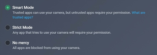 Screenshot of Webcam Protection's 3 levels of security: Smart Mode, Strict Mode, and No Mercy