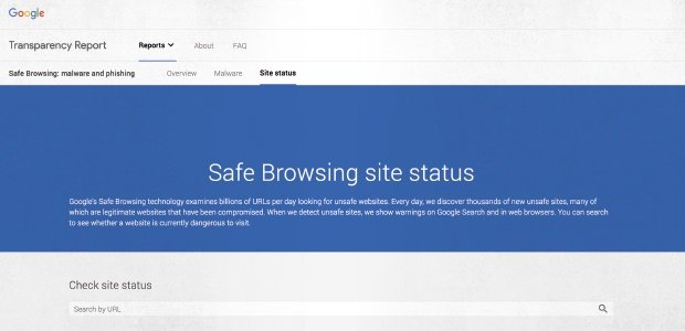 Image of the Google Safe Browsing website, where you can check if a website is safe
