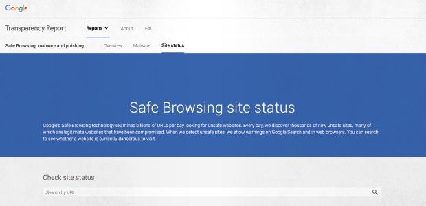 Bild der Google Safe Browsing-Webseite, auf der Sie überprüfen können, ob eine Webseite sicher ist