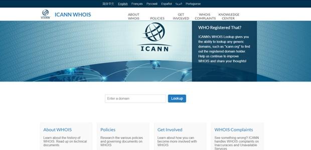 Imagem da página do Icann, onde você pode procurar por informações sobre quem está por trás de um site