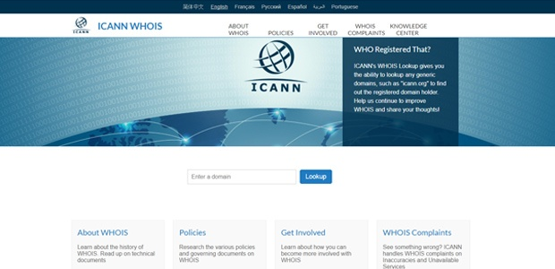 Image of the Icann webpage, where you can search for info about who's behind a website