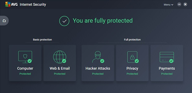 Main UI of AVG Internet Security, showing that you are fully protected