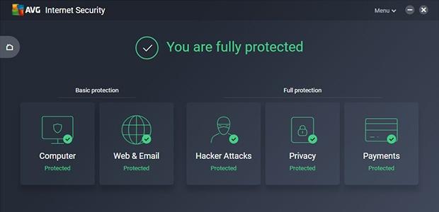 Hauptbenutzeroberfläche von AVG Internet Security, die zeigt, dass Sie vollständig geschützt sind