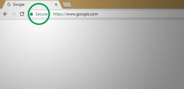 Abbildung der Adressleiste des Google Chrome-Browsers mit eingekreistem grünen Vorhängeschloss
