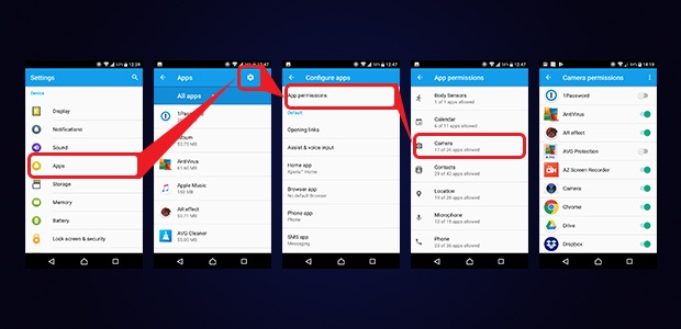Screenshot flow showing how to see all apps that are using a specific permission