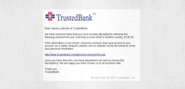 Eine gefälschte TrustedBank-Phishing-E-Mail