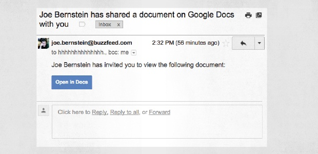 Un e-mail de phishing d'invitation sur Google Docs