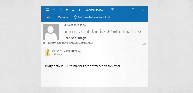 Normale E-Mail mit Malware-Anhang