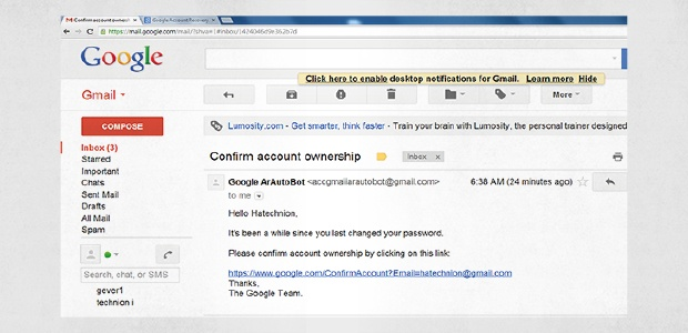 Spear phishing-e-mail vermomd als bevestigings-e-mail van Google