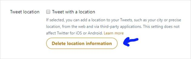 How to delete your location information from tweets in Twitter