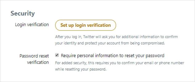 How to enable Require personal information to reset password on Twitter