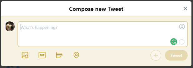Screenshot of the Twitter compose box