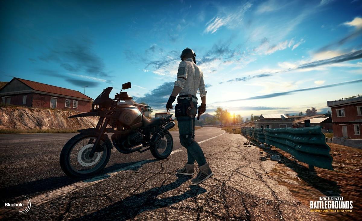 A screenshot of a biker from PlayerUnknown's Battleground, the game