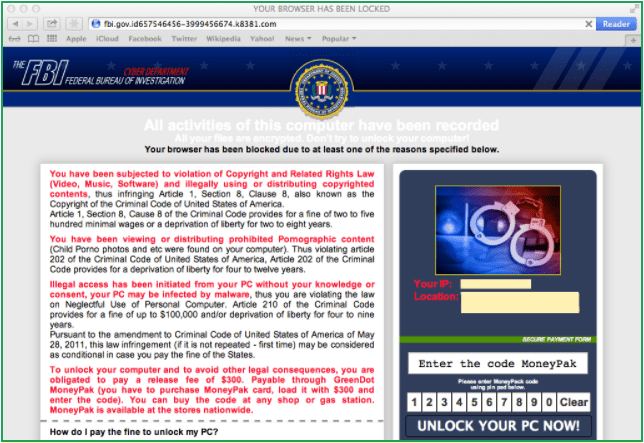 Screenshot of the FBI Ransomware webpage.