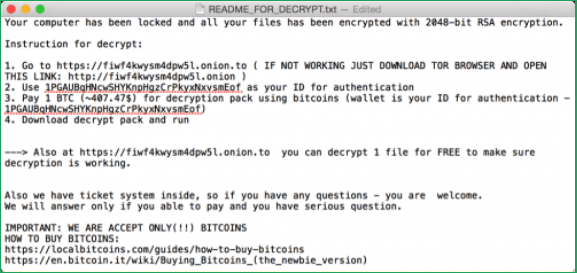 Screenshot of the KeRanger ransom instructions for decrypting files.