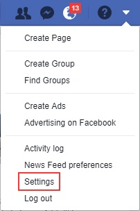 open your facebook settings menu