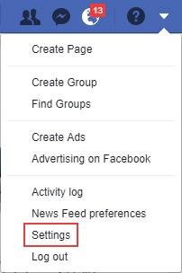 ouvrez le menu paramètres dans facebook