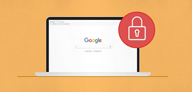 A browser with a lock symbol: lock down your accounts