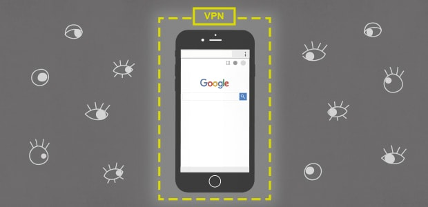 Illustratio of a phone protected from eavesdropping by a VPN