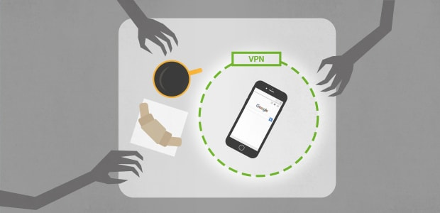 Illustration of a phone in a public space protected by a VPN