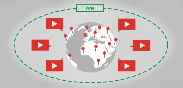 Illustration of a globe surrounded by a VPN network with servers around the world streaming video