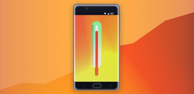 Telefone com termômetro no visor