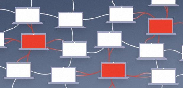 Diagram of a Peer-to-Peer model botnet