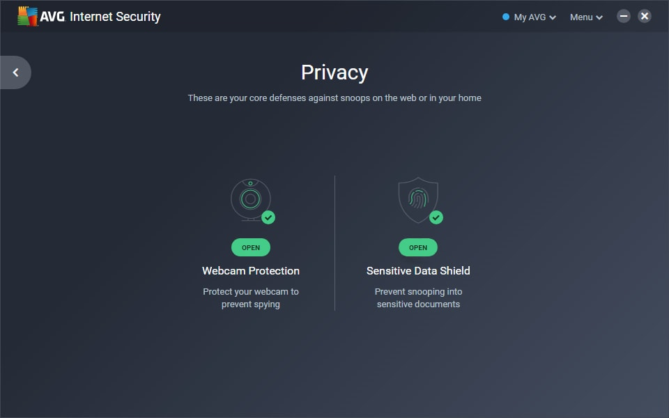 Screenshot of the Sensitive Data Shield screen in AVG Internet Security