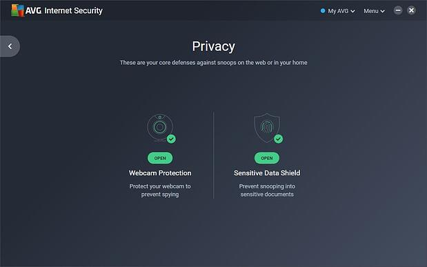 Screenshot of the Sensitive Data Shield screen in AVG Internet Security