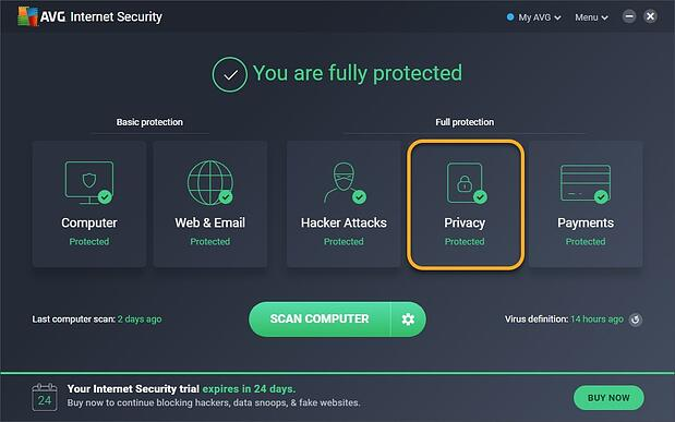 Capture d'écran de l'écran principal d'AVG Internet Security avec le menu Confidentialité mis en surbrillance