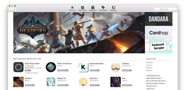Captura de tela da App Store do Mac