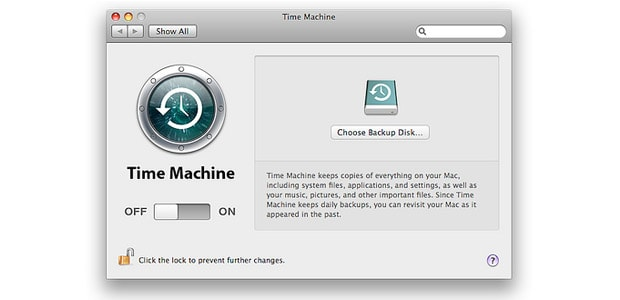 Screenshot of Time Machine, where you can back up your Mac