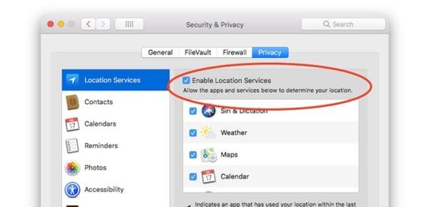 Come attivare i servizi di localizzazione nel Mac