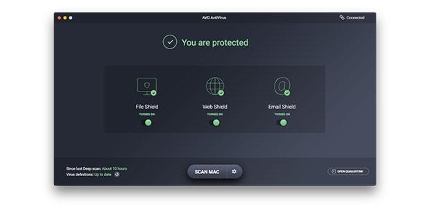 AVG AntiVirus for Mac user interface