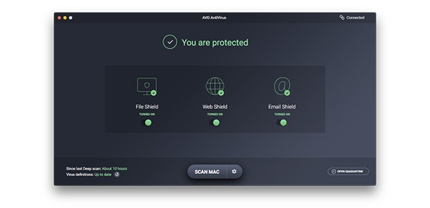 Interfaccia utente di AVG AntiVirus per Mac