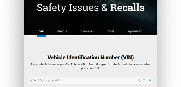 A screenshot of the the National Highway Traffic Safety Administration (NHTSA) recall page.