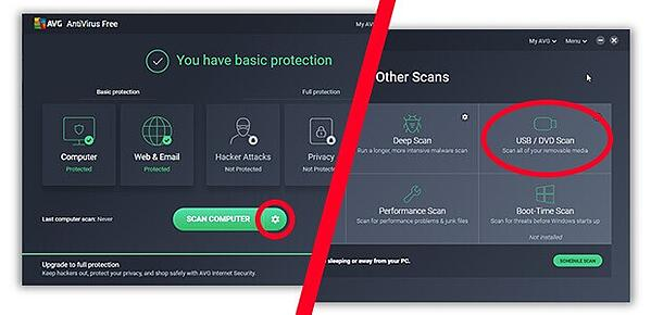 Where to find USB scan in AVG AntiVirus Free