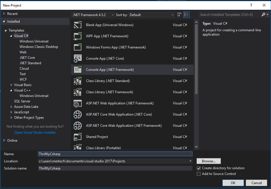 creating a new c# console application
