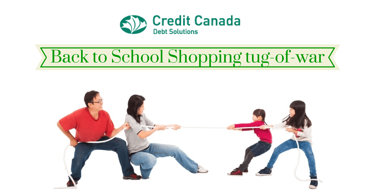 Back to School Shopping tug-of-war